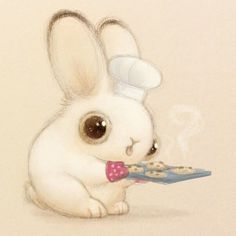 Cute art He may have burned down the house, but at least there are cookies ♡ Bunny Art And Illustration, Cute Drawings, Animal Drawings, Cartoon Cartoon, Bunny Art, Bunny Drawing, Cute Creatures, Cute Art, Cute Pictures
