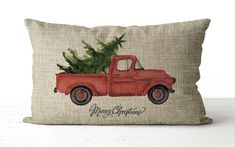 Vintage Christmas Tree Red Truck Pillow This pillow features a vintage truck carrying a Christmas tree in its bed. ------------------------------------------ ★ PILLOW INSERT is included! Shabby Chic Christmas, Vintage Christmas, Burlap Christmas Decorations, Primitive Pillows, Christmas Truck, Diy Christmas, Personalized Pillows, Christmas Pillow, Pillow Forms