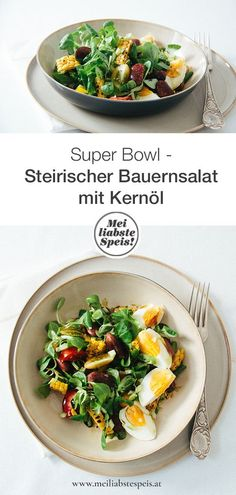 Styrian farmer's salad with beet beans and seed oil - Mei lia .- A real Super Bowl is our Styrian farmer's salad with crunchy vegetables, bird salad and beetle beans – perfect for the hot summer days. It's that easy … # käferbohnen # kernöl My Favorite Food, Favorite Recipes, Austrian Recipes, Vegetable Pasta, Fruit Salad Recipes, Beet Salad, Beets, Super Bowl, Tasty