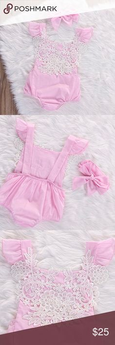 Pink with lace floral romper with headband Pink with white lace floral romper with pink headband. One Pieces