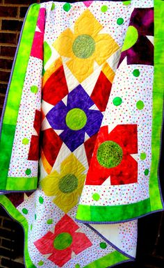 Girl's Bright Colors of Large Flowers Quilt by babiart on Etsy, $128.00