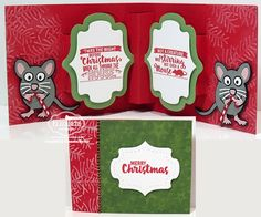 Frances Byrne using the Pop it Ups Lorna Label, Jolly the Mouse and Merry & Bright stamps by Karen Burniston for Elizabeth Craft Designs. - 'Twas the Night before Christmas ….