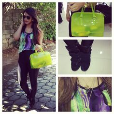 #Shinnytights #dyeblouse #IMsneakers #Furlabag #oversizedgoldwatch #Goldnecklace