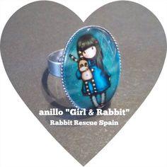 """#nuevo anillo exclusivo Colección Gorjuss """"Girl & rabbit"""". Solo 5€+gtos. de envío. Pedidos: info@rabbitrescuespain.org"""