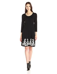 Nine West Womens 34 Sleeve Double Jacquard Sweater Dress BlackIvory Medium >>> Check out this great product.
