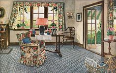 1926 sunporch - the modern home had linoleum in every room...ideally.