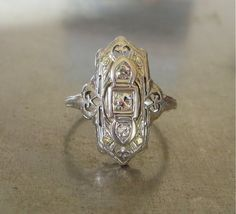 Edwardian Diamond Ring-Unique Engagement Ring-Diamond Engagement Ring-Downton Abbey-Antique Diamond Ring - Right Hand Ring -Art Deco-18k
