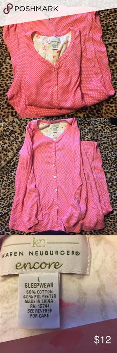 Pink and white polka dot pjs Perfect shape pjs. 21 in pit to pit. Pants have 28 in inseam. karen neuburger Intimates & Sleepwear Pajamas