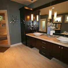 Slate blue walls with dark brown wood and yellow accents - Bathroom vanities nebraska furniture mart ...