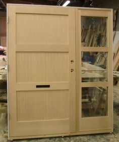 Solid VG Fir 3 Panel Horizontal With Matching Sidelite Modern Front Doors