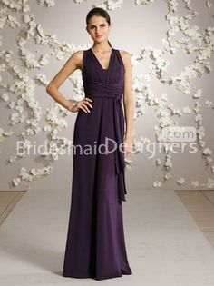 v neck plum criss cross back a line long bridesmaid dress with gathered