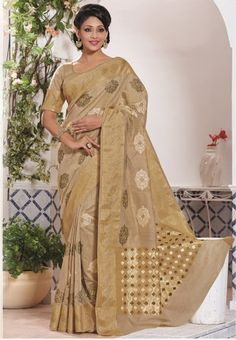 bdd251437a Buy online women fashion sarees online in various styles, designs, colors  and fabrics. Order this precious beige jacquard designer saree for party  and ...