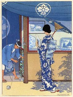 Blue and White, by Elizabeth Keith (1887-1956), Japanese Print, 1925 -- See more at: http://www.hanga.com/gallery.cfm?ID=26