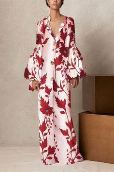 Maxi Dress V Collar long-sleeved printing style dress for women, loose casual maxi dress. Shop now. : Maxi Dress V Collar long-sleeved printing style dress for women, loose casual maxi dress. Shop now. Floral Dress Outfits, Floral Maxi Dress, Boho Dress, Fashion Dresses, Dress Red, Beautiful Dress Designs, Beautiful Dresses, Awesome Dresses, Elegant Dresses