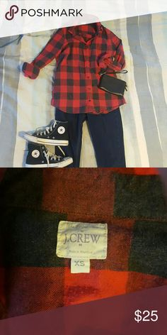 Red and black J. Crew flannel button up This red and black flannel is super cozy and perfect for fall. Lightly worn. Good condition. J. Crew Tops Button Down Shirts