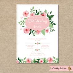 Christening Invitation, Girls Baby Babies Childrens Shabby Chic Pink Flowers Floral Watercolour – Digital file by ChubbySparrow on Etsy