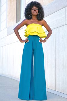 Cropped Ruffle Top + Box Pleat Wide Leg Trousers More