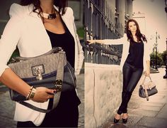 Anna Kastle White Blazer, Marks&Spencer Handbag, Killah Black Pants, Aldo Pumps