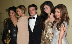 Selena Gomez at the Weinstein Company's 2013 Golden Globe Awards After Party with Vanessa Hudgens, Ashley Tisdale, Josh Hutcherson, and Sarah Hyland.