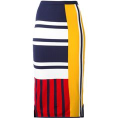 Tommy Hilfiger patchwork print midi skirt ($185) ❤ liked on Polyvore featuring skirts, blue, blue skirt, colorful skirts, multicolor skirt, calf length skirts and midi skirt