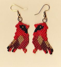 Beaded Red Cardinal Earrings | NativeWorksJewelry.com