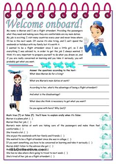 Welcome onboard! – reading comprehension + grammar (the use of the infinitive) tasks] KEYS INCLUDED pages)) ***editable worksheet - Free ESL printable worksheets made by teachers Reading Comprehension Activities, Reading Worksheets, Reading Passages, Printable Worksheets, Comprehension Strategies, Teaching English Grammar, English Grammar Worksheets, English Vocabulary, English Lessons