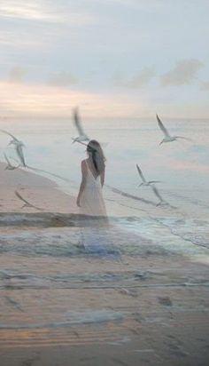 """arcobalenostellato: """" Esco e cammino solo i gabbiani mi fanno compagnia, da quella spiaggia non voglio più andar via. Dolce visione è un ipotetico viaggio che ho sognato oppure l' ho vissuto.Ho imparato a non fidarmi , ogni tanto ad isolarmi . Non..."""