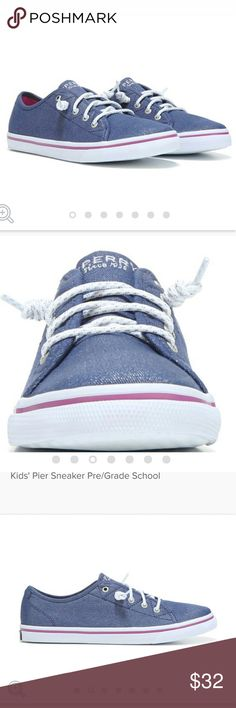 JUST IN!! Denim Sparkle Sperrys Size 1 Little Kid Adorable Denim Sparkle Sperrys!! Size 1 Little kid. Perfect for any outfit. Sperry Top-Sider Shoes Sneakers