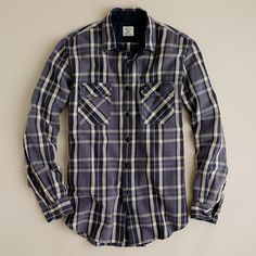 Dan costume- button up plaid shirt, roll up over elbows ((Heavyweight flannel shirt in Eddison plaid))