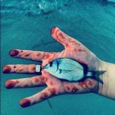 La main d'Eva   #Devenir #Talisman #Poisson #Mer #houta #bhar #Turquoise #blue #sea #fish #hand