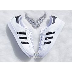 Adidas Original Superstar Made With Swarovski Xirius Rose Crystals ($149) ❤ liked on Polyvore featuring shoes, athletic shoes, silver, sneakers & athletic shoes, tie sneakers, women's shoes, swarovski crystal shoes, shiny shoes, white evening shoes and black white shoes