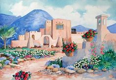 adobe home in Taos New Mexico watercolor painting