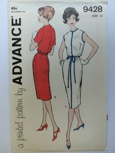 This is an original Advance Pattern No. 9428 from the 1960s.    It is in original factory folds and is a size 12 with a 32 bust, 25 waist and 34 hip.  It is complete, uncut and printed.   One-piece dress has allthe lean, lovely, lithe look of a sheath yet enough eased softness to make it feel very comfortable. Short-sleeved or sleeveless, dress is especially effective when narrow trim is in contrast.    Will be packaged carefully in plastic sleeve, with cardboard backing for protection and…
