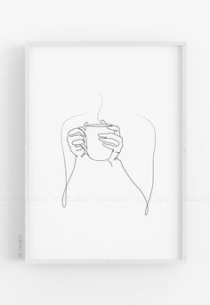 Coffee in Hands One Line Art Print Printable Coffee Single Line Drawing Wall Art Hand poster Coffee Lovers Minimal Kitchen Decor gift poster design Coffee Drawing, Coffee Art, Coffee Line, Line Art, Line Drawing Art, Wall Drawing, Minimal Art, Minimal Poster, Minimal Drawings
