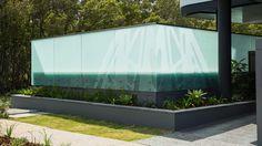 Balustrade which enhances the main entry. Curved Glass, Facade, Concrete, Design, Facades