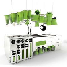 Eco-Friendly Kitchen. Love the hanging herb gardens. Slight reminders of the Teletubbies set though...