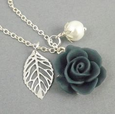 Navy Blue and White Flower and Leaf Charm Wedding Bridesmaids Necklace via Etsy