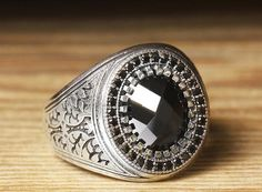925 K Sterling Silver Man Ring Black Onyx 11 US Size B20-64914 #istanbul #Cluster