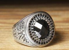 925 K Sterling Silver Man Ring Black Onyx 11 US Size $36.90