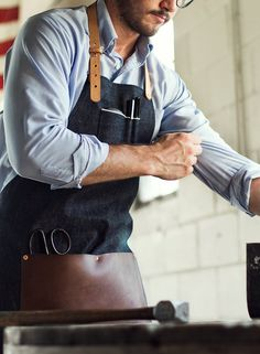 A selvedge denim and leather apron is equally function in the workshop or the kitchen.