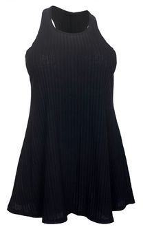 Plus size top features sleeveless design with round neckline. Racerback styling. Vertically ribbed fabric. Made large at the hips for a comfortable fit. Available in junior plus size 1XL, 2XL, 3XL.