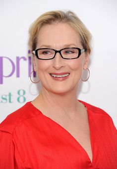 Merryl Streep finds a sophisticated blend of classic black with a bit of shimmer to her spectacles