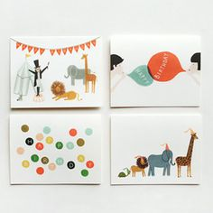 The Assorted Birthday Card 8-Pack from the paper card artisans at Rifle Paper Co. features the most adorable designs. Lions, giraffes, elephants, turtles, polka dots, and balloons, these are definitely a fun way to wish a happy birthday.