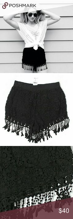 """NWT LF Black Lace Fringe Pom Pom Festival Shorts Brand new with tags. Awesome boho festival shorts in black lace with fringe pom pom hem detail. Elastic waist. 50% Polyester/50% Cotton.100% Inseam approx 2"""". Retailed at LF for $132. By Rumor Boutique. Size S, but run more like XS.   Please check out my closet for more NWT LF items to bundle w/ discount & save more with 1 shipping fee. LF Shorts"""