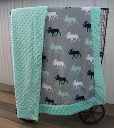 Ships Today-Moose Baby Blanket Minky baby blanket Moose от isewjo