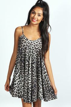 Larissa Leopard Strappy Swing Dress at boohoo.com