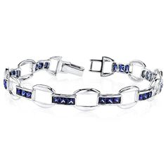 Created Sapphire Bracelet Sterling Silver Princess Cut >>> Want additional info? Click on the image. #JewelryForWomen
