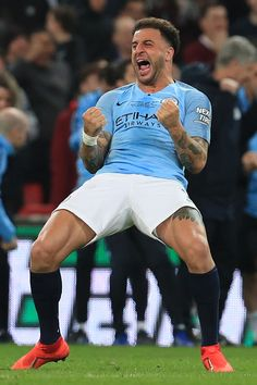 LONDON, ENGLAND - FEBRUARY 24:  Kyle Walker of Manchester City celebrates victory after the Carabao Cup Final between Chelsea and Manchester City at Wembley Stadium on February 24, 2019 in London, England.  (Photo by Victoria Haydn/Man City via Getty Images) Manchester City Wallpaper, Kyle Walker, Sexy Men, Sexy Guys, Wembley Stadium, Football Players, Passion For Fashion, Victorious, Chelsea