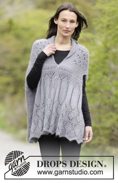 """Lothlorien - Knitted DROPS jacket in garter st with lace pattern and shawl collar in """"BabyAlpaca Silk"""" and """"Kid-Silk"""". Size S-XXXL. - Free pattern by DROPS Design"""
