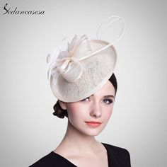 Formal Hat With Linen Flower Feather Hat Fascinator For Ladies Party Wedding Church Hair Accessories